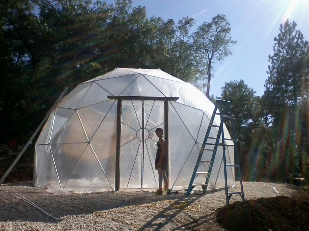 23.5ft wide 14' tall geodesic dome greenhouse